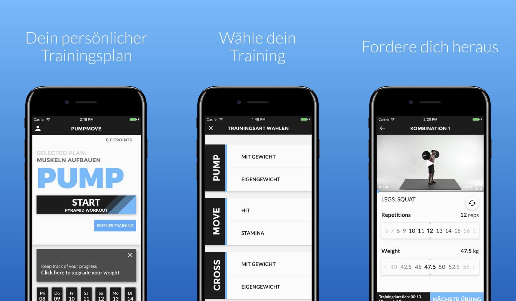 Fitness App Screens